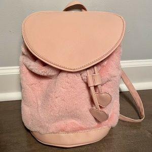 Under One Sky Kid's Fuzzy Pink Heart Backpack NEW